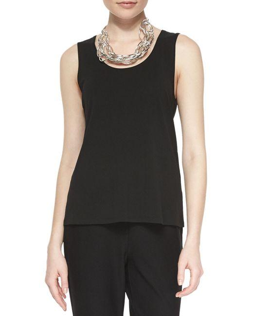 Eileen Fisher - Black Plus Size Stretch Silk Jersey Tank - Lyst