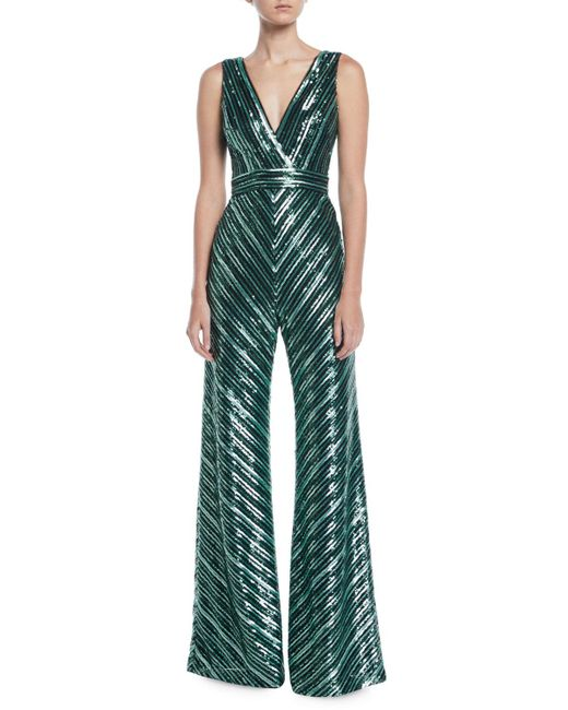 THEIA - Green V-neck Sleeveless Sequin Stripe Jumpsuit - Lyst