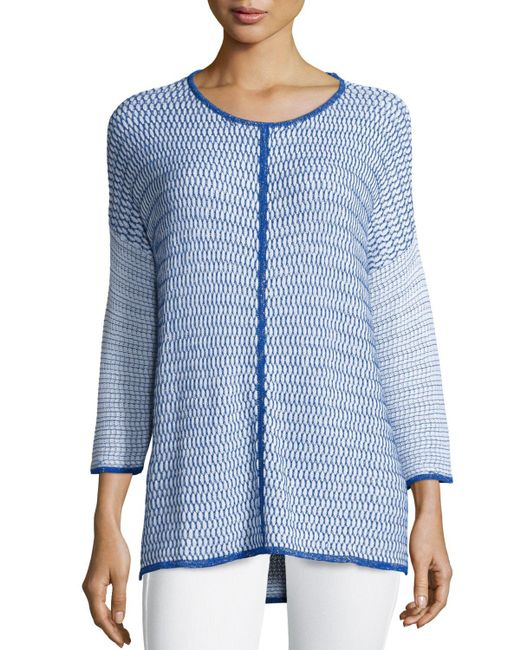 Belford | Blue Long-sleeve Oversized Pullover W/ Trim | Lyst