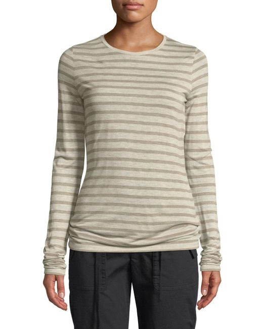 Vince - Gray Striped Long-sleeve Crewneck Top - Lyst
