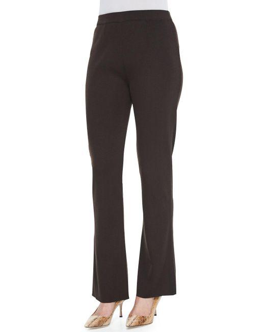 Misook - Brown Boot-cut Knit Pants - Lyst
