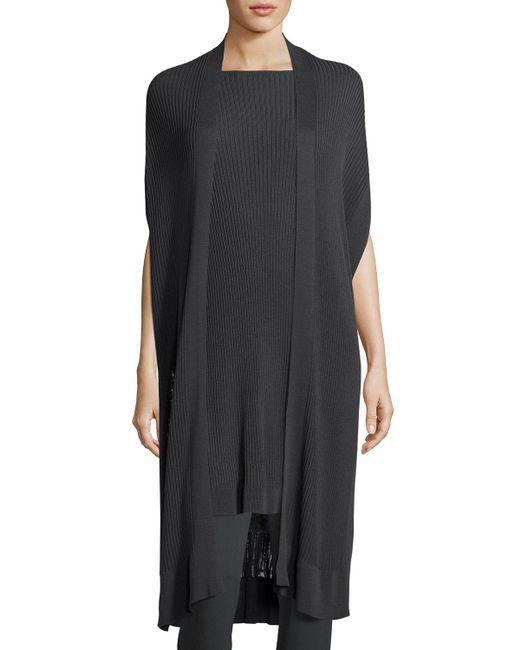 Eileen Fisher - Gray Long Sleek ® Ribbed Kimono Cardigan - Lyst
