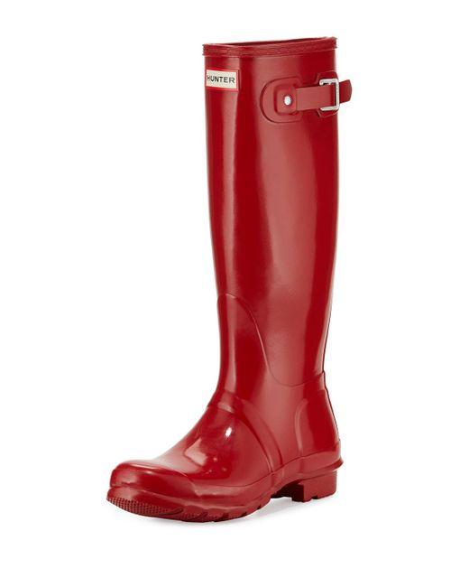 Hunter Original Tall Gloss Rain Boot in Red | Lyst