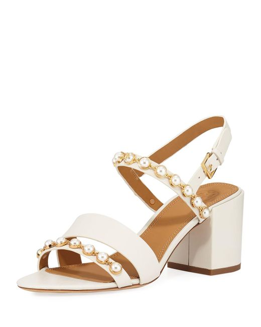 6fcb51c4f31c08 Tory Burch - Multicolor Emmy Pearly Studded Block-heel Sandals - Lyst