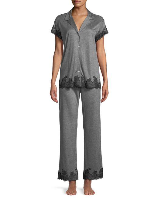 Josie Natori Blue Charlize Lace-trim Pajama Set