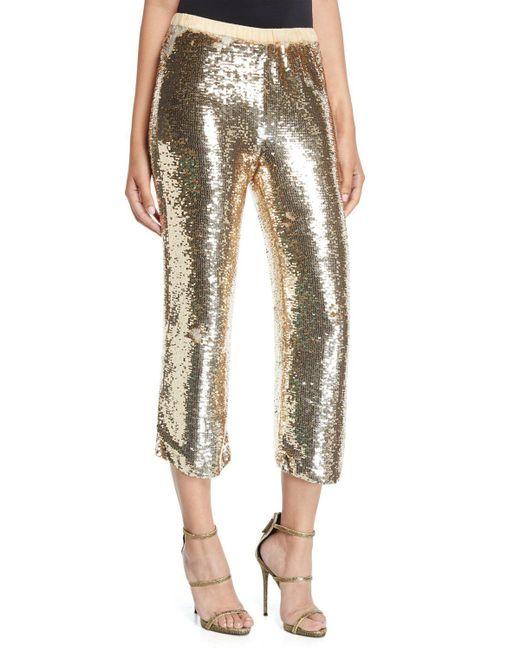 Figue - Metallic Verushka Golden-sequin Crop Pants - Lyst