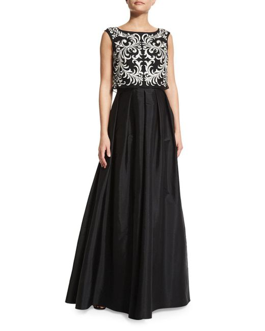 Aidan Mattox | Black Sleeveless Embroidered-popover Gown | Lyst