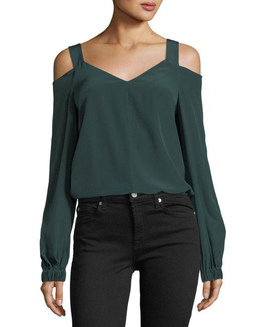 Tibi - Green V-neck Cold-shoulder Silk Tunic - Lyst