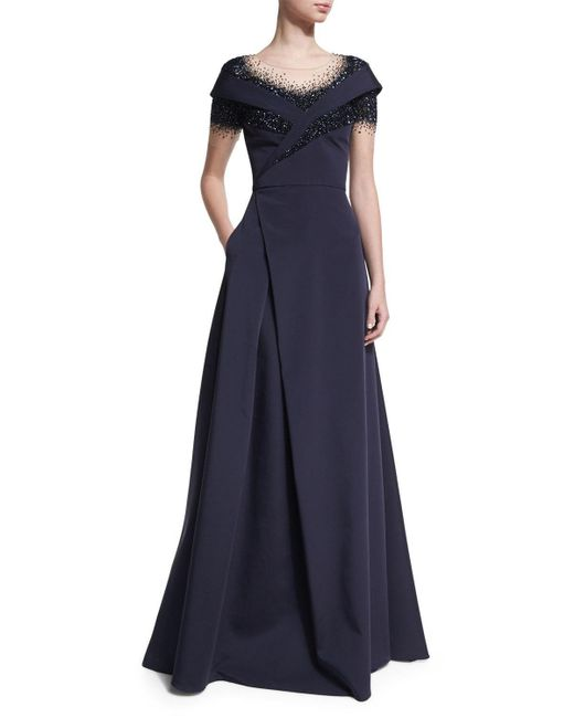 Pamella Roland | Blue Crystal Dégradé Evening Gown | Lyst