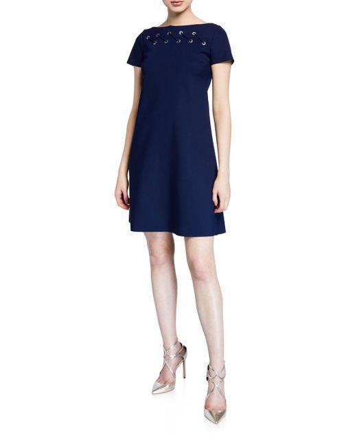 La Petite Robe Di Chiara Boni Blue Rosario Cap-sleeve Looped Grommet A-line Dress