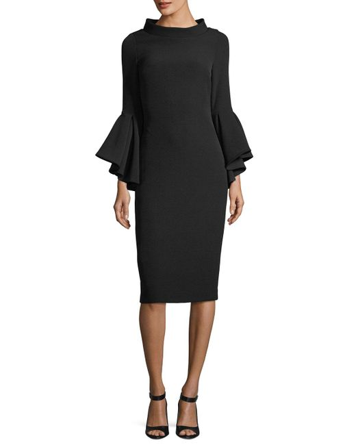 Badgley Mischka - Black Funnel-collar Bell-sleeve Sheath Crepe Cocktail Dress - Lyst