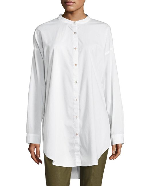 Eileen Fisher - White Mandarin-collar Stretch-lawn Button-front Shirt - Lyst