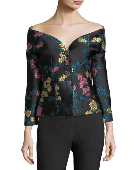 Etro - Black Off-shoulder Jewel-button Jacket - Lyst