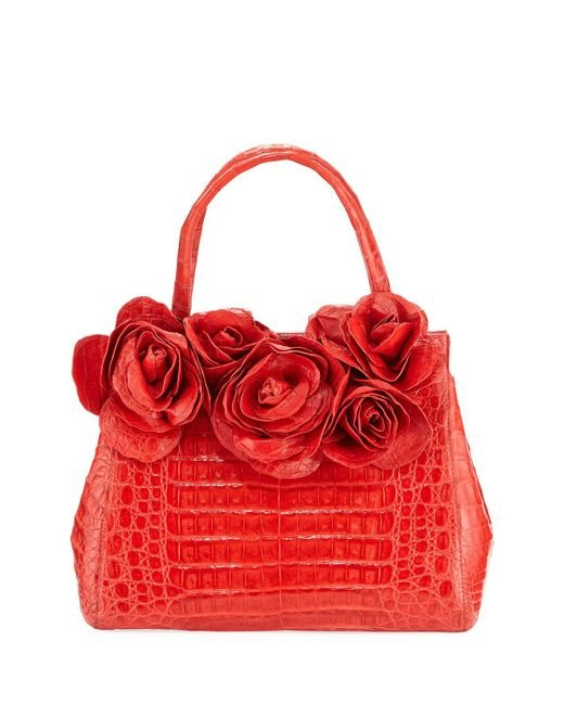 Nancy Gonzalez   Red Rose Daisy Crocodile Satchel Bag   Lyst
