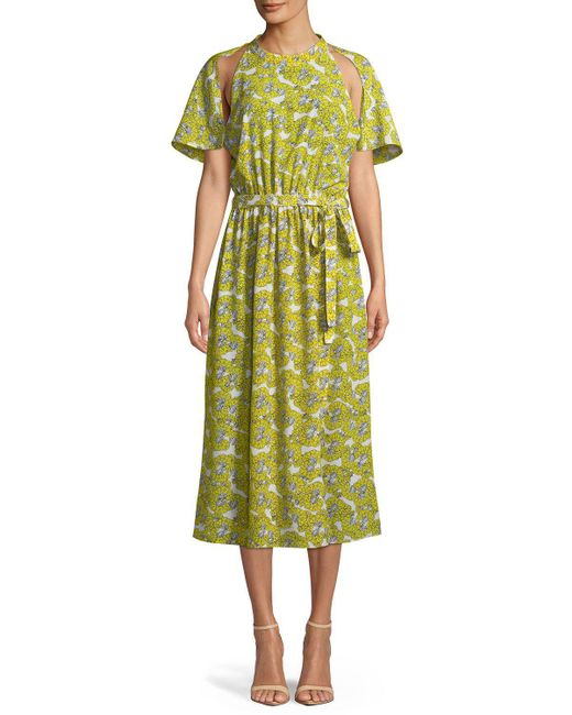 Robert Rodriguez - Multicolor Dania Floral-print Cutout Belted Midi Dress - Lyst