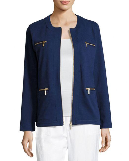 Joan Vass   Blue Stretch Interlock Zip-front Jacket   Lyst