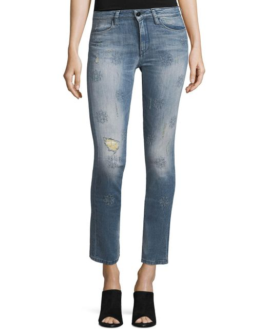 Brockenbow - Blue Lily Slim Straight-leg Cropped Jeans - Lyst