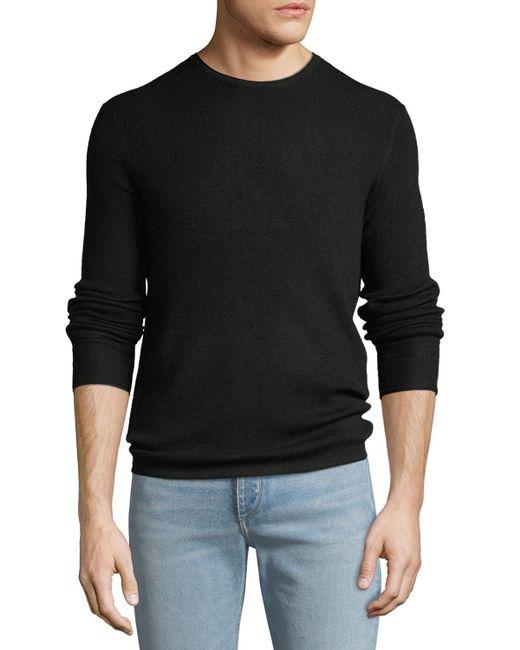 Rag & Bone - Black Men's Gregory Waffle-knit Merino Wool Sweater for Men - Lyst