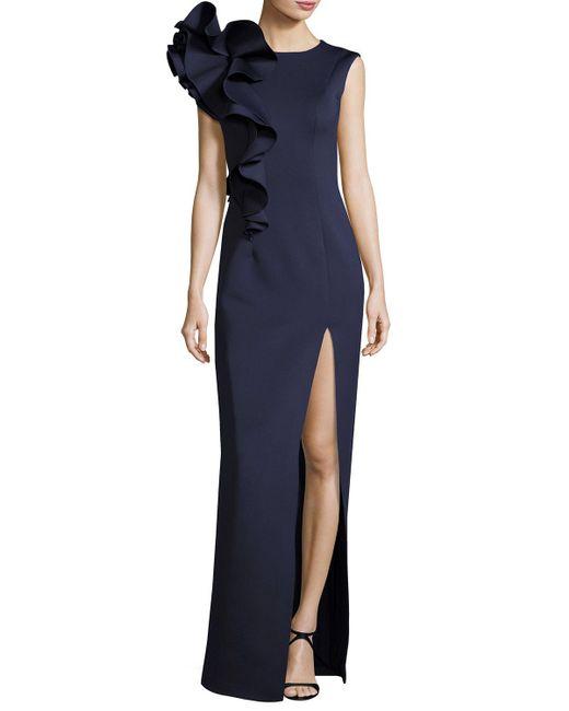 Jovani - Blue Sleeveless Ruffle-trim Crepe Column Gown - Lyst