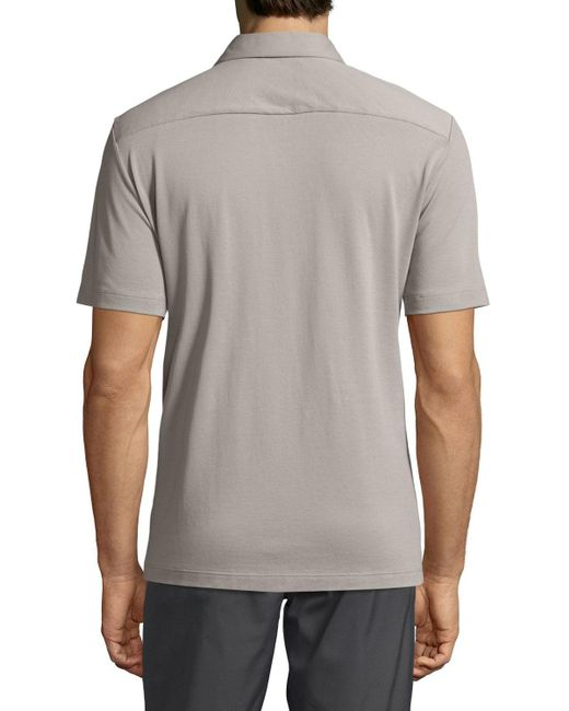 Theory   Gray Air Pique Short-sleeve Shirt for Men   Lyst