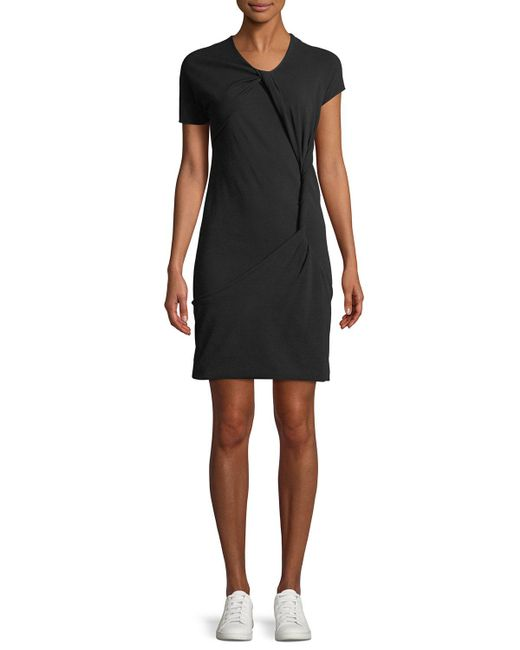 Helmut Lang - Black Knot Twisted Crewneck Tee Dress - Lyst