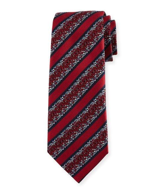 Ermenegildo Zegna   Red Pixelated Stripe Twill Tie for Men   Lyst