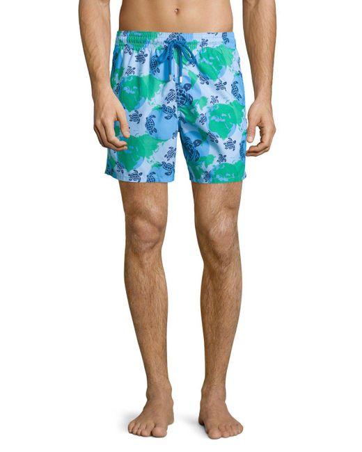 Vilebrequin | Blue Moorea Globe & Turtle Printed Swim Trunks for Men | Lyst