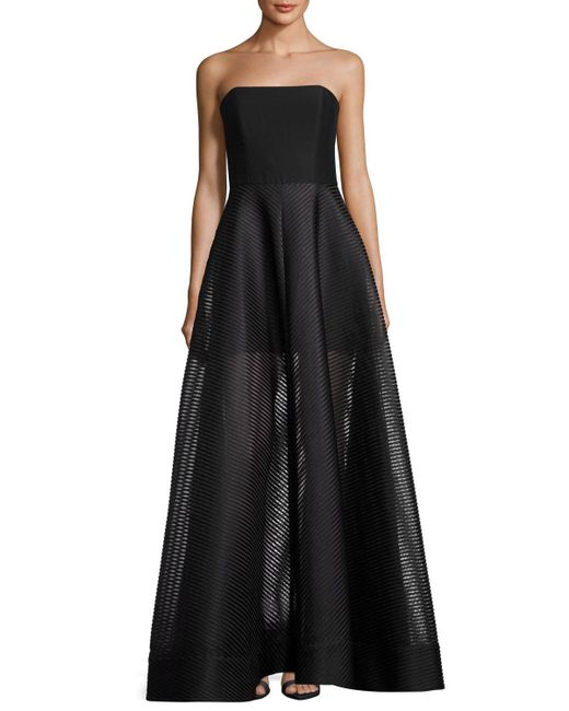 Halston Heritage | Black Strapless Evening Gown W/ Sheer Striped Skirt | Lyst