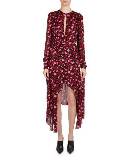 Magda Butrym - Pink Gela Floral-print Silk High-low Midi Dress - Lyst