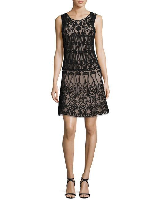 Aidan By Aidan Mattox | Black Sleeveless Soutache-trim A-line Cocktail Dress | Lyst