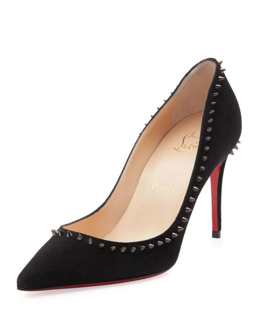 Christian Louboutin - Black Anjalina Suede Spiked Red Sole Pump - Lyst