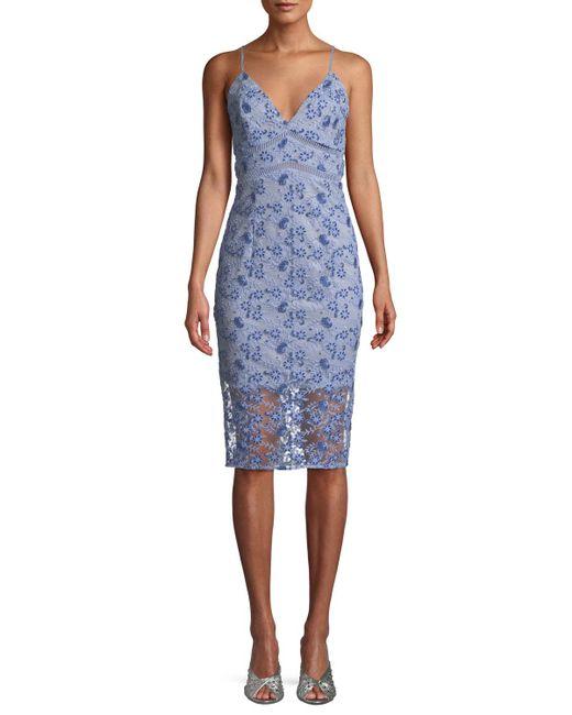 Bardot - Blue Sapphire Embroidered Sheath Cocktail Dress - Lyst