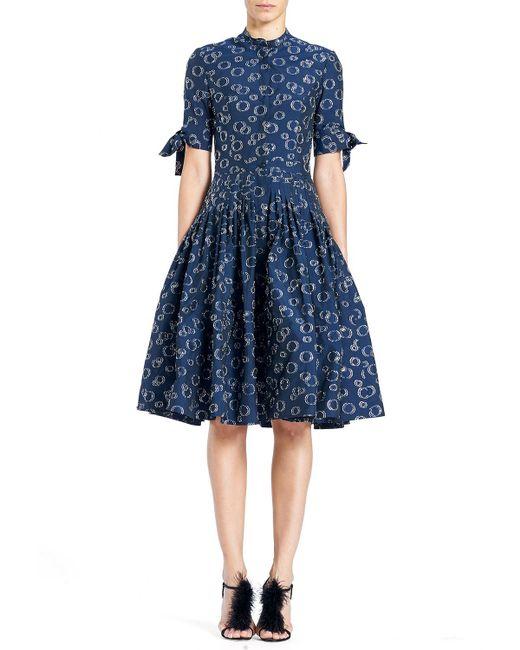 Carolina Herrera - Blue Button-front Short-sleeve Cocktail Shirtdress - Lyst