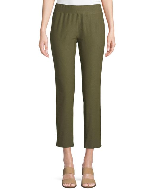 Eileen Fisher - Green Washable Stretch Crepe Cropped Pants - Lyst