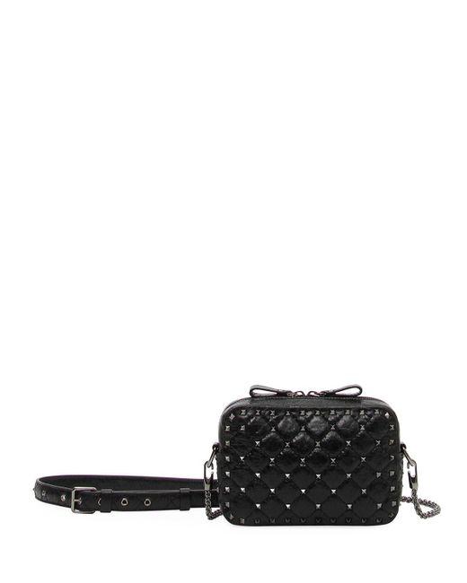 Valentino - Black Rockstud Spike Crossbody Bag - Lyst