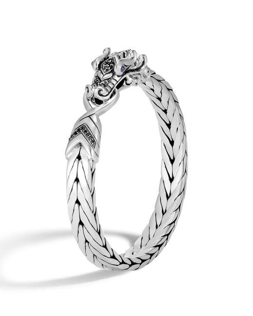John Hardy - Metallic Men's Legends Naga Silver Medium Bracelet W/ Black Sapphire Pave for Men - Lyst