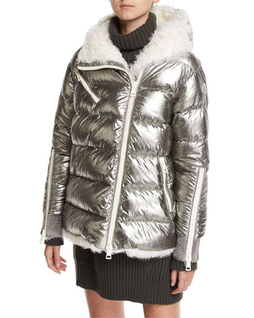 Moncler Lirio Quilted Metallic Puffer Coat W Shearling Lyst