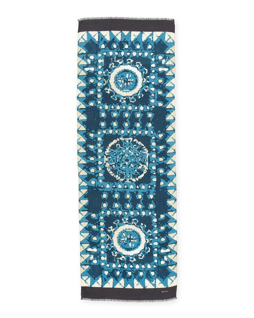 Kiton | Blue Cloud-print Cashmere Scarf for Men | Lyst