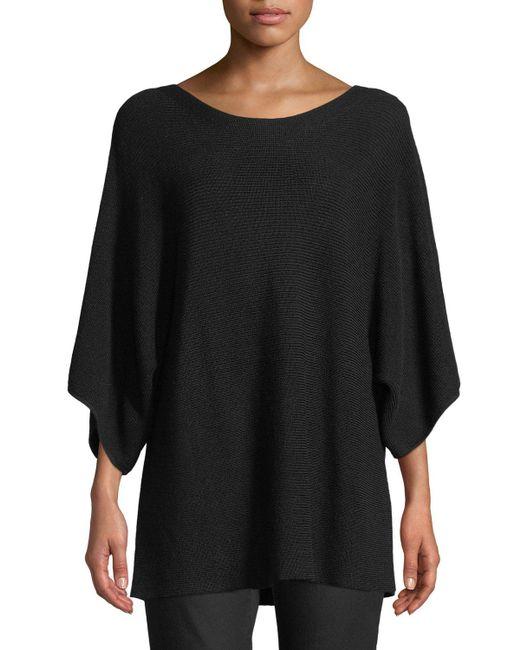 Eileen Fisher - Black Bateau-neck 3/4-sleeve Ribbed Merino Wool Sweater - Lyst