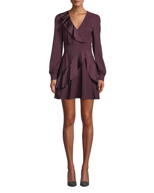 Parker - Purple Nancy Long-sleeve Ruffle Combo Mini Dress - Lyst