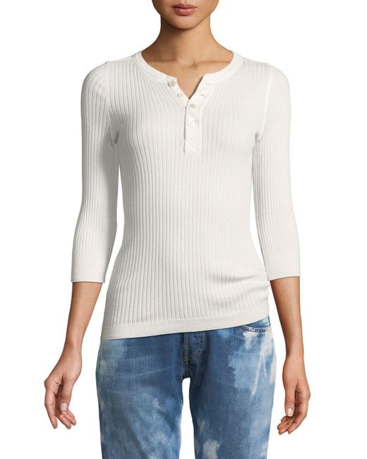 Ralph Lauren Collection - White Ribbed Cotton Henley Pullover Top - Lyst