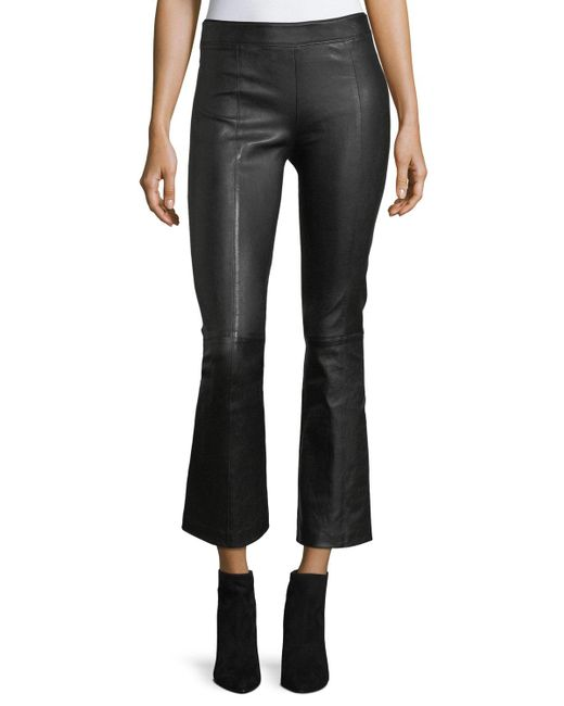Helmut Lang - Black Leather Mid-rise Crop Flare Pants - Lyst