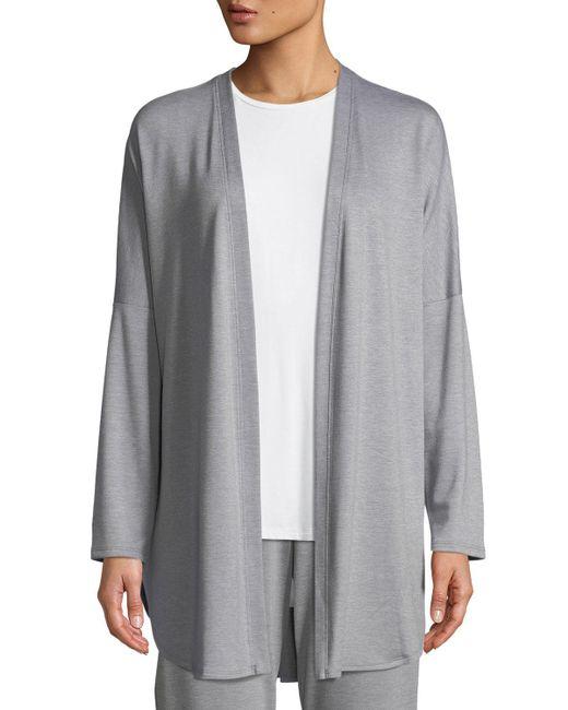 Natori - Gray Zen French Terry Lounge Cardigan - Lyst