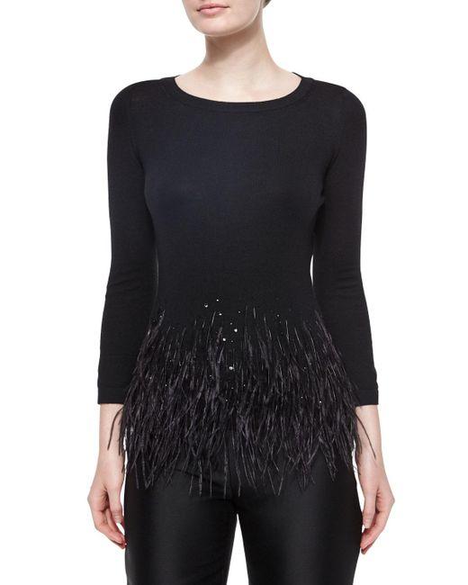 Carolina Herrera - Black Feather Trimmed Knit Top - Lyst