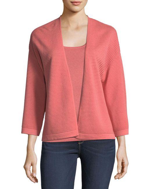 Neiman Marcus - Pink Silk/cashmere Ottoman Knit Cardigan - Lyst