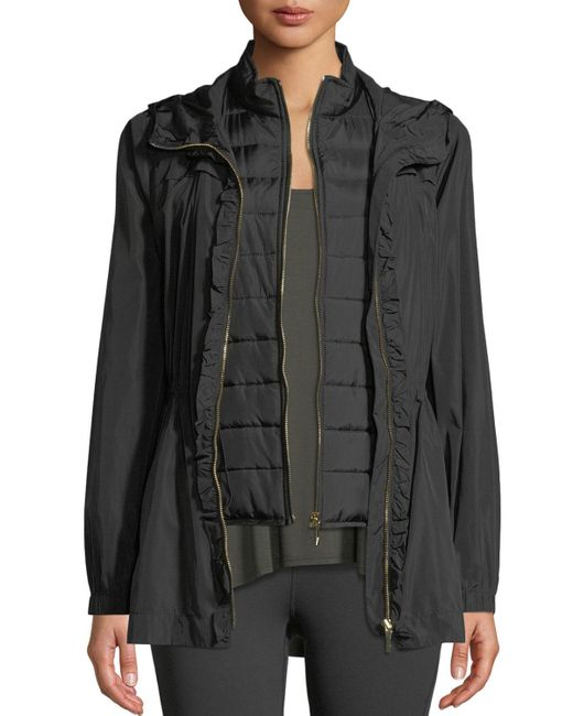 Kate Spade - Black Ruffle-placket Hooded Anorak Jacket - Lyst
