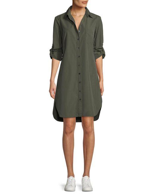 Finley - Green Alex Long-sleeve Button-front Shirtdress - Lyst