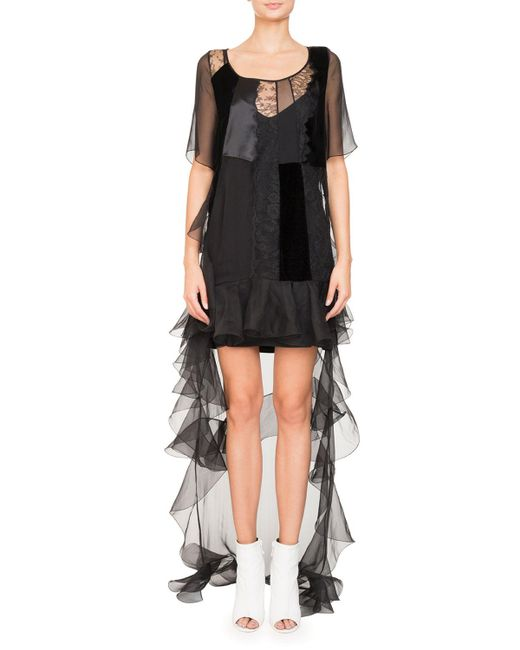 Lyst Givenchy High Low Short Sleeve Ruffled Chiffon Lace Cocktail