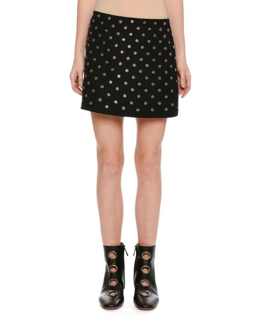 Valentino - Black Embroidered Crepe Couture Mini Skirt - Lyst