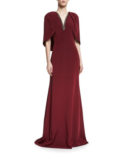 David Meister | Red V-neck Capelet Column Evening Gown W/ Embellishments | Lyst